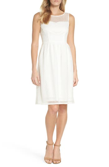 Adrianna Papell Embroidered Diamonds Fit & Flare Dress, Ivory