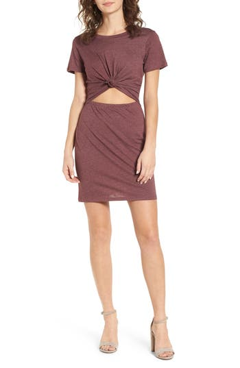 Socialite Knot Front Cutout T-Shirt Dress