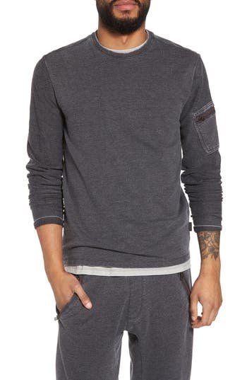John Varvatos Star Usa French Terry Crewneck Sweater, Grey