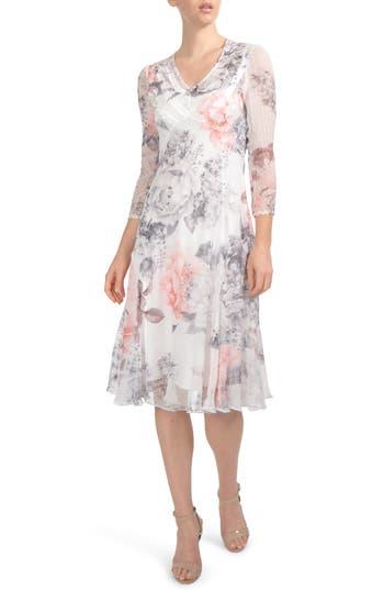 Komarov Floral Chiffon Tea Length Dress, Grey