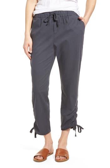 Caslon Side Ruched Crop Pants, Grey