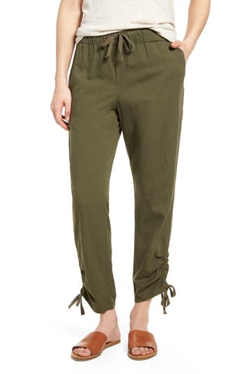 Caslon Side Ruched Crop Pants, Green