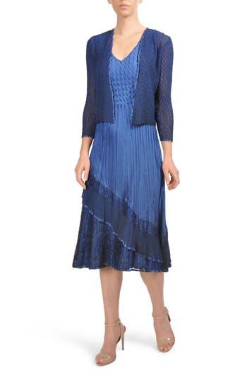 Komorov Midi Dress With Jacket, Blue