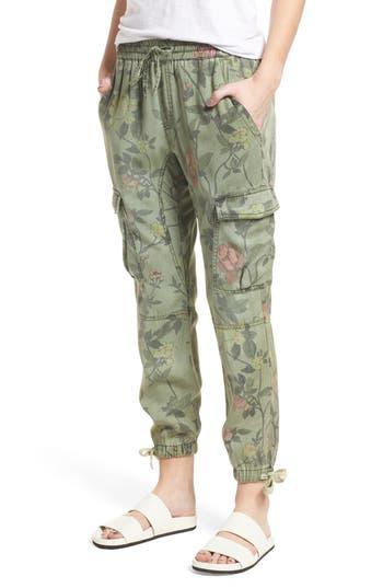 Pam & Gela Floral Cargo Pants, Size Petite - Green