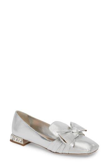 Women's Miu Miu Embellished Heel Bow Loafer, Size 5.5US / 35.5EU - Metallic