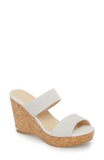 Women's Jimmy Choo Parker Wedge Slide Sandal, Size 4.5US / 34.5EU - White