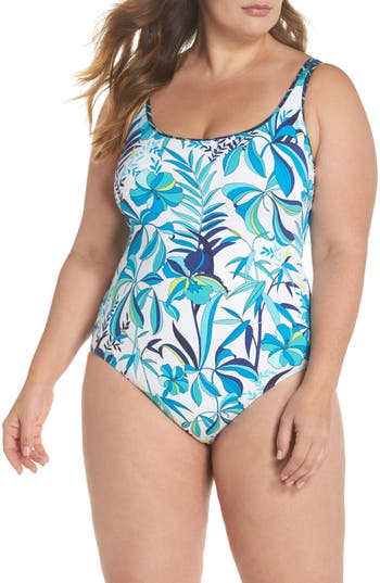 Plus Size Tommy Bahama Tropical Swirl Reversible One-Piece Swimsuit, White
