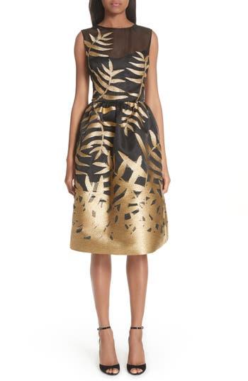 Oscar De La Renta Glitter Fil Coupe Dress, Black