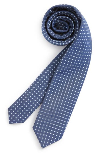 Boys Nordstrom Chambray Dot Silk Tie Size Big Boy  Blue