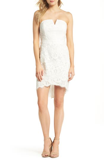 Adelyn Rae Strapless Lace Dress, White