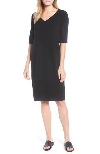 Eileen Fisher Stretch Jersey Shift Dress, Black