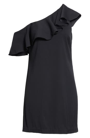 Joie Bronwen Ruffled One-Shoulder Dress, Black