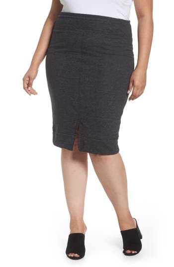 Plus Size Caslon Off-Duty Front Slit Pull-On Skirt, Grey