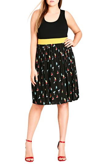 Plus Size City Chic Cocktail Time Fit & Flare Dress Dress, Black