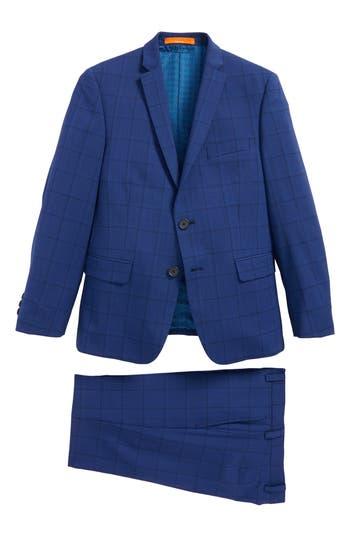 Boys Tallia Windowpane Wool Suit