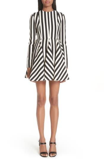 Valentino Stripe Crepe Dress, White