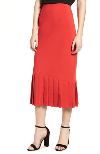 Lost Ink Pleat Detail Pencil Skirt, Red