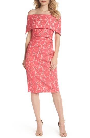 Vince Camuto Off the Shoulder Lace Sheath Dress