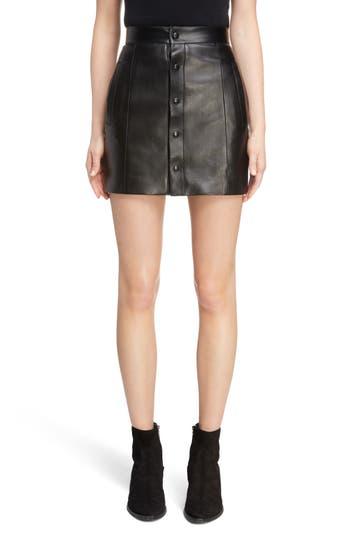 Saint Laurent Button Front Leather Skirt