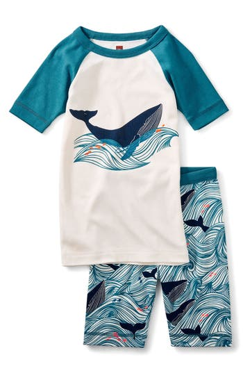 Toddler Boys Tea Collection Wavy Whale Fitted TwoPiece Short Pajamas