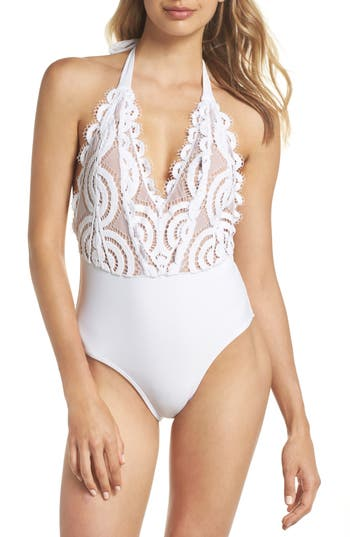 Pilyq Lace Halter One-Piece Swimsuit, White