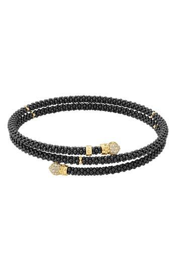 LAGOS Gold & Black Caviar Pavé Diamond Wrap Bracelet