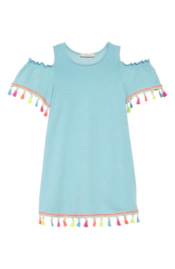 Toddler Girls Truly Me Tassel Cold Shoulder Dress Size 2T  Blue