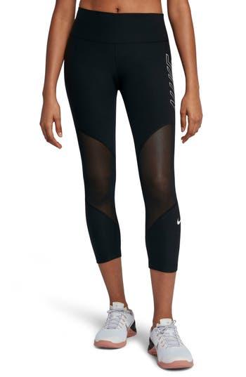 Nike Power Graphic Training Crop Leggings, Black