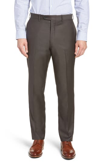 John W. Nordstrom® Torino Traditional Fit Flat Front Solid Trousers