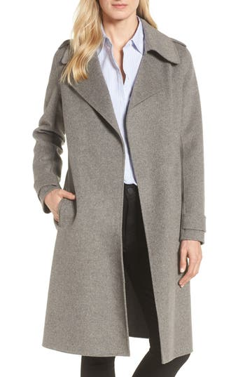 Badgley Mischka Double Face Wool Blend Wrap Front Coat