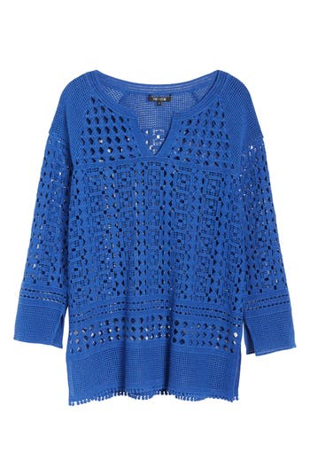 Womens NicZoe Right On Track Tunic Sweater Size XSmall  Blue