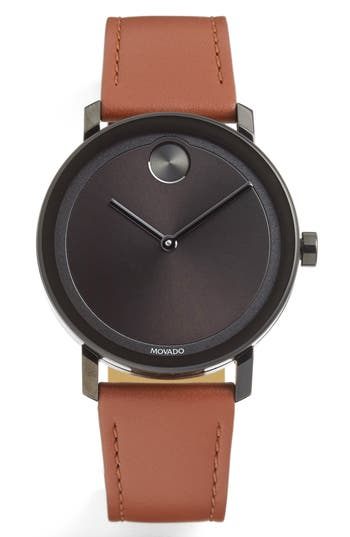 Movado Bold Evolution Leather Strap Watch, 40mm