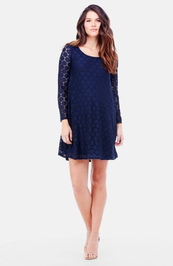 Ingrid & Isabel Dot Lace Maternity Dress, Blue