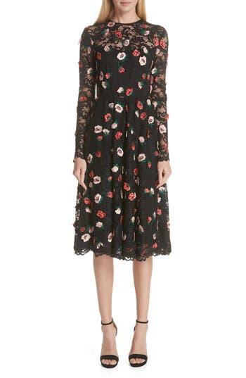 Lela Rose Floral Embroidered Lace Midi Dress
