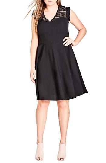 plus size women's city chic first place crochet yoke fit & flare dress, size xx-large - black