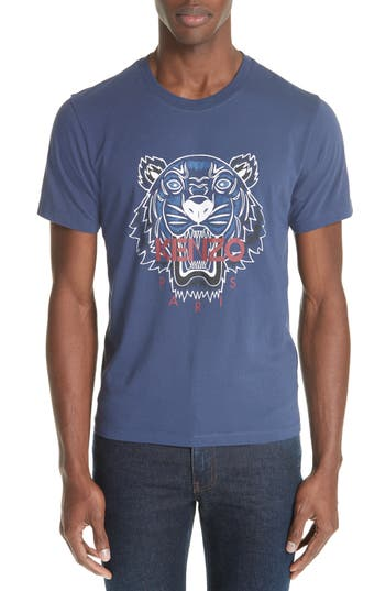 Men's Kenzo Bleached Embroidered Tiger T-Shirt, Size X-Small - Blue
