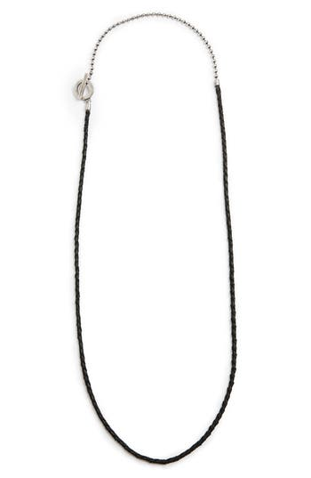TITLE OF WORK LEATHER & STERLING SILVER BALL CHAIN NECKLACE