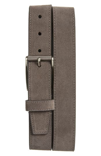 Image of Men's Big & Tall 1901 Colton Suede Belt, Size 46 - Grey Excalibur