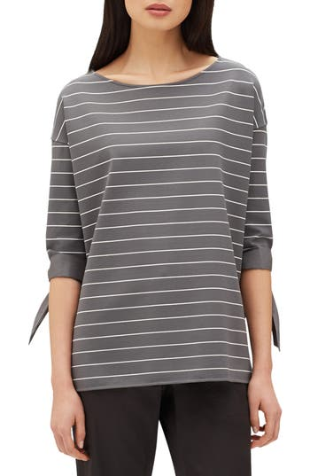Women's Lafayette 148 New York Catriona Mulberry Stripe Jersey Blouse, Size X-Small - Grey