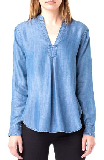 Women's Liverpool Mandarin Collar Chambray Blouse, Size X-Small - Blue