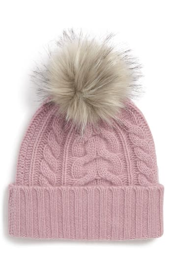 Halogen® Cashmere Cable Knit Beanie with Faux Fur Pom