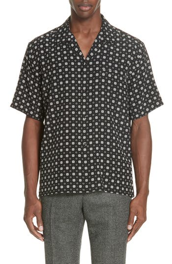 Men's Saint Laurent Patterned Silk Camp Shirt
