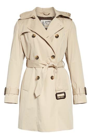 Petite Women's London Fog Heritage Trench Coat With Detachable Liner, Size Medium P - Beige