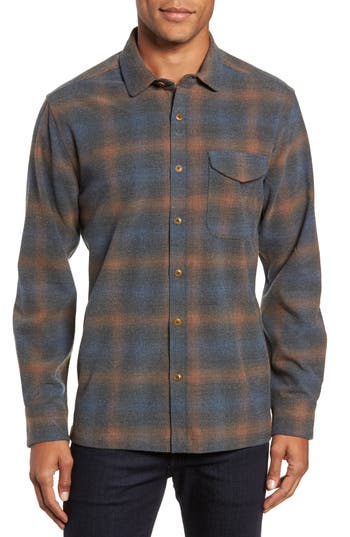Men's Jeremiah Washburn Regular Fit Plaid Stretch Brushed Flannel Shirt, Size Small - Blue