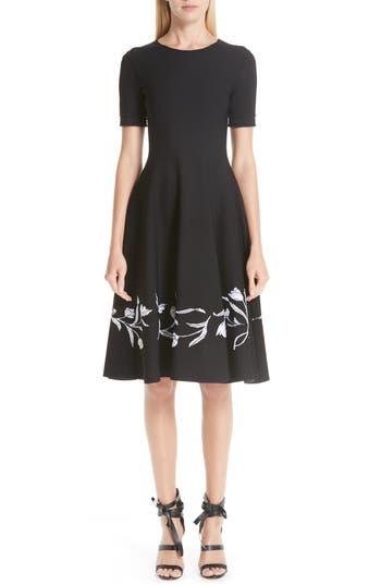 Oscar de la Renta Jacquard Tulip Hem Stretch Wool Dress