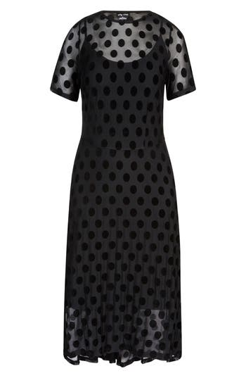 City Chic Spot Flock Dress