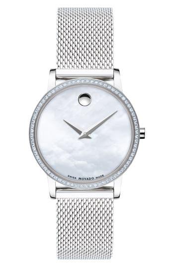 Movado Museum Classic Diamond Bracelet Watch, 28mm