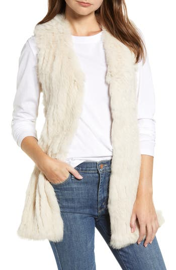 Love Token Genuine Rabbit Fur & Knit Vest