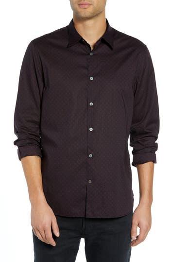 Men's John Varvatos Star Usa Diamond Print Sport Shirt, Size Small - Red