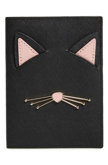 kate spade new york cat's meow leather passport holder